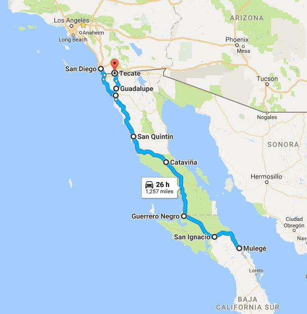 Baja Tour map - WOmens Motorcycle Tours.com